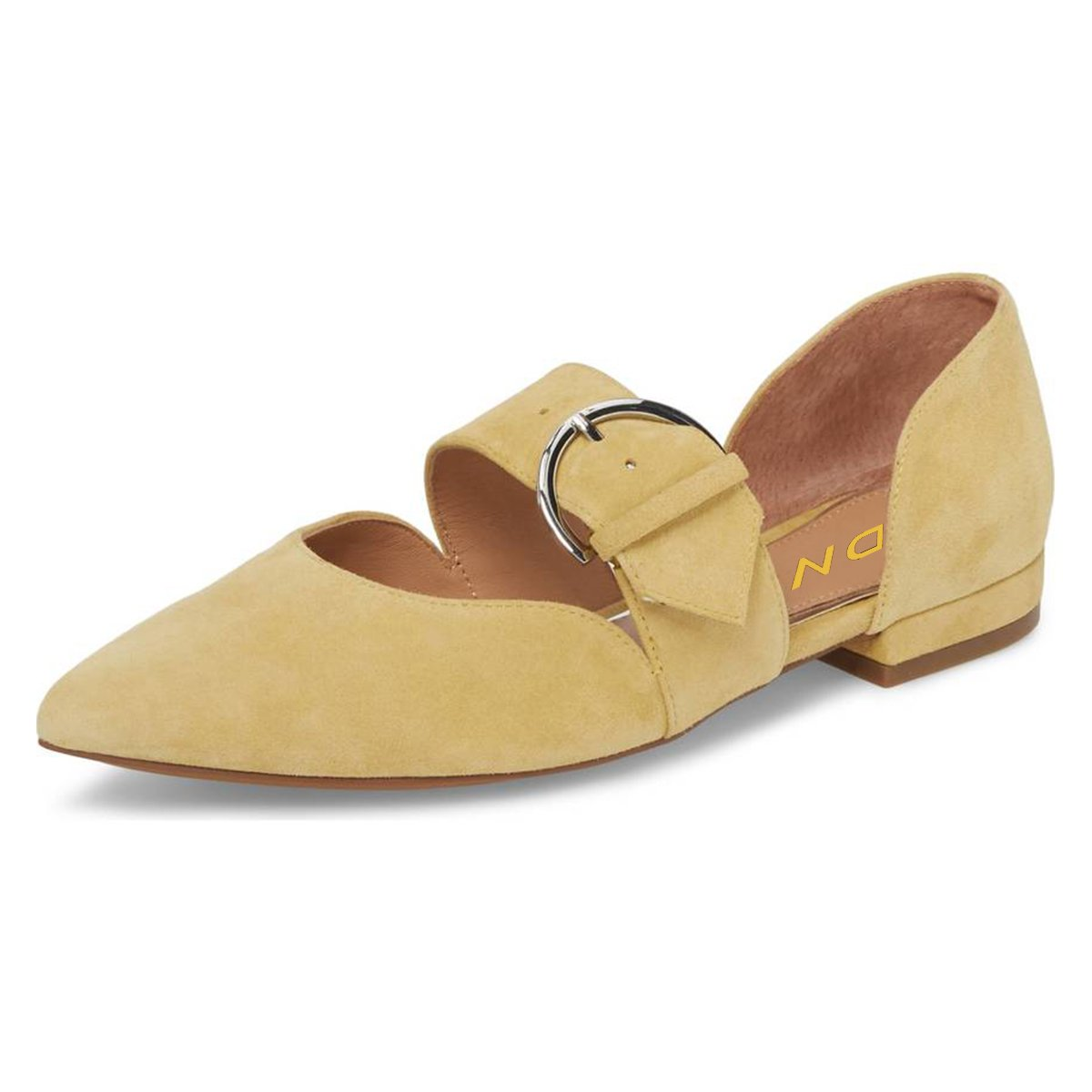 YDN Women's Pointed Toe Mary Jane Flats Slip On D'Orsay Pumps Low Heels Office Shoes B07B4CSJ6X 8.5 B(M) US|Yellow