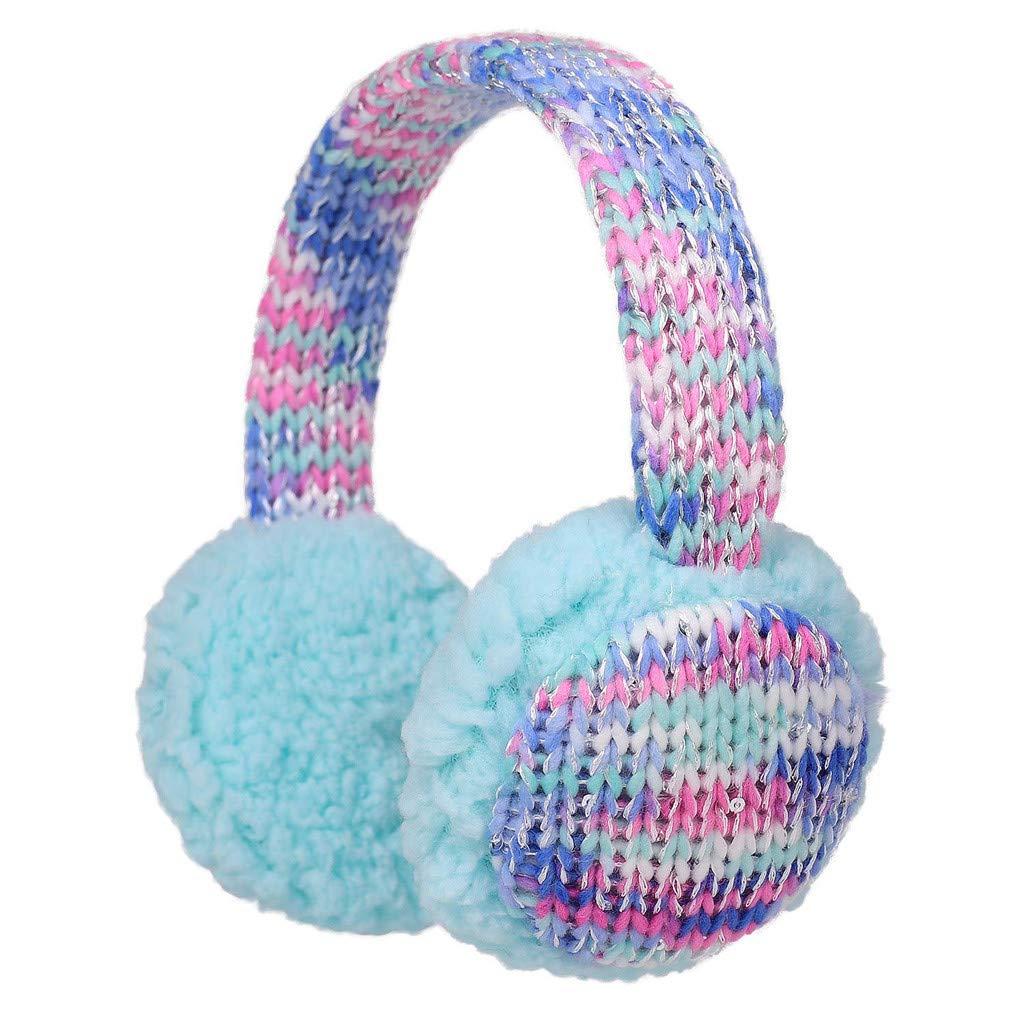 Baby Childs Cartoon Earmuffs.ZYooh Kintting Classic Warm Foldable Earmuffs with Fur Earwarmer Outdoor Earmuffs Headwear (Purple)