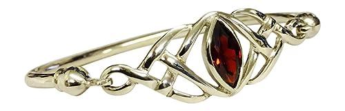 Sterling Silber keltischer Knoten Armreif mit A Marquiseschliff Cubic Zirkonia Granat–Januar