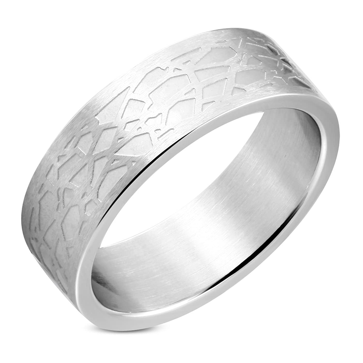 Stainless Steel Matte Finished Stone-Style Flat Band Ring