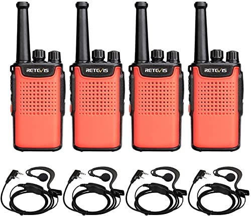 Retevis RT67 Walkie Talkies for Adults 3000mAh 16 Channel Small Two Way Radio with LED Flashlight Earpiece 4 Pack