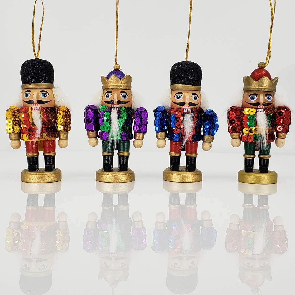 Christmas Nutcracker Soldier Ornaments Mini Glitzy Sequin Jackets Wood 4 Inch Set Of 4 Home Kitchen