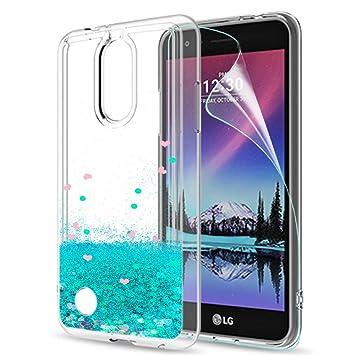 LeYi Funda LG K4 2017 Silicona Purpurina Carcasa con HD Protectores de Pantalla,Transparente Cristal Bumper Telefono Gel TPU Fundas Case Cover para ...