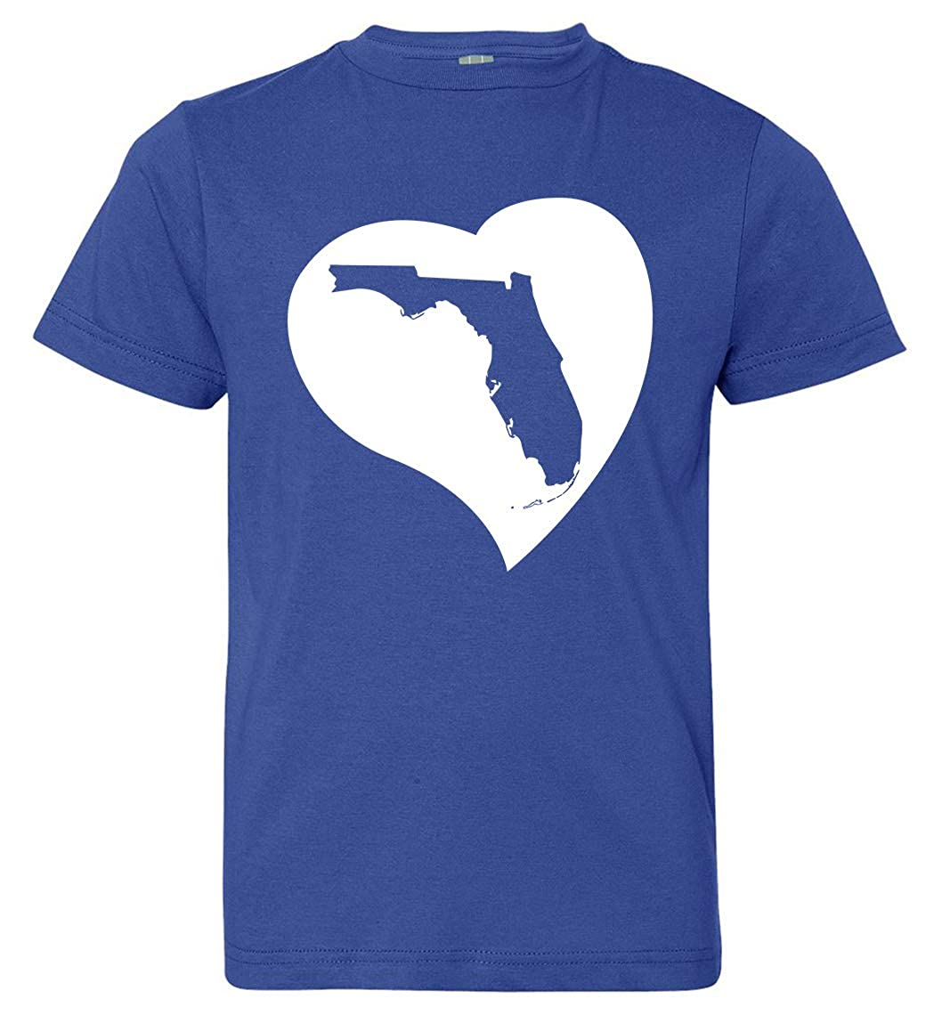 Tenacitee Boys Youth Florida Heart T-Shirt Royal Blue Medium