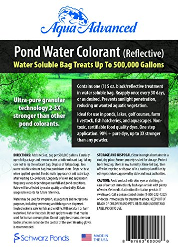 Aqua Advanced Reflective Pond Water Colorant - Treats up to 500,000 Gallons - Reduces Algae and Pond Weeds - Solid Treatment - Prevents Photosynthesis Cycle -Just Toss It In