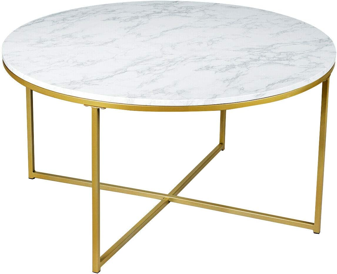 Amazon Com Round Accent Coffee Table Side Sofa Faux Marble Top