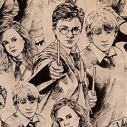 Camelot Harry Potter Tela de algodón para bosquejos, Harry, Ron y Hermione, algodón, Bambi & Thumper Diamonds - Marina, 1 m