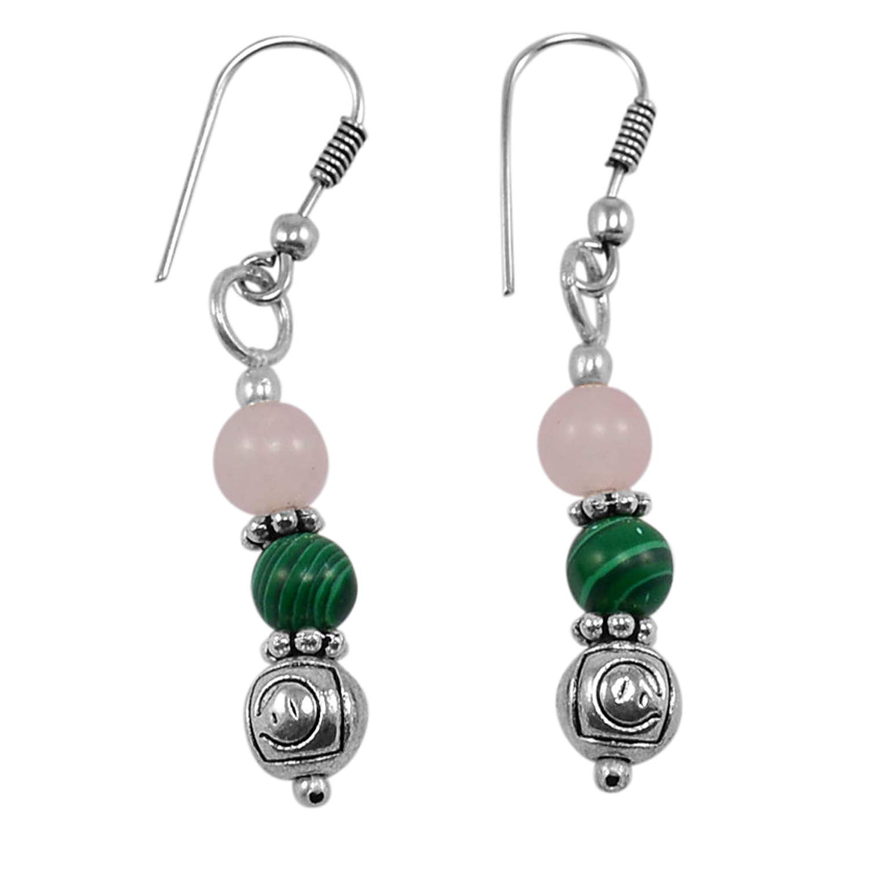 Saamarth Impex Malachite /& Rose Quartz 925 Silver Plated Dangle Earring PG-130745