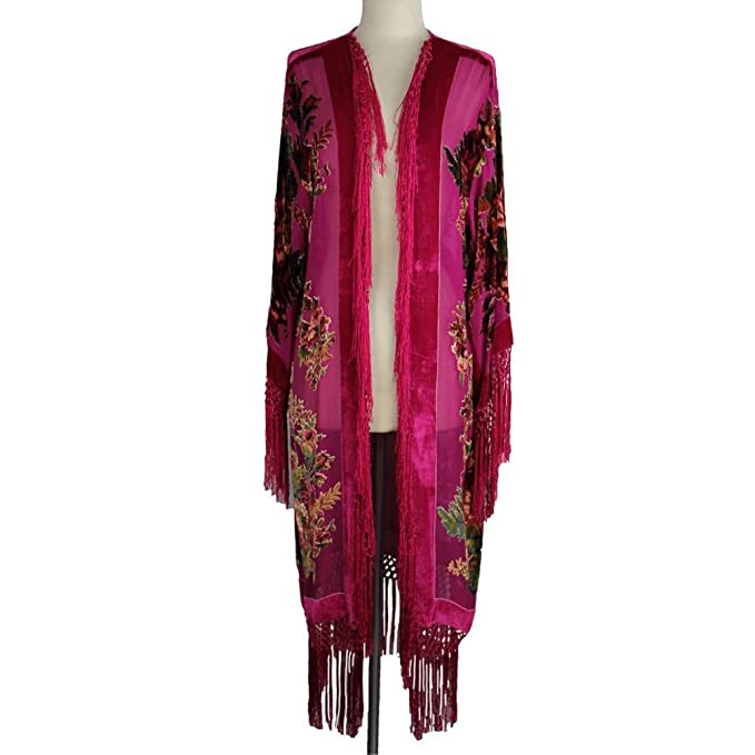 1920s Style Wraps Aris A Silk Velvet Burnout Kimono $98.00 AT vintagedancer.com