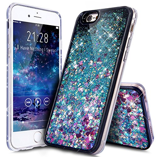 UCLL Iphone 7 Case, Iphone 7 Liquid Case, Gorgeous Design Case for Iphone 7 Cool Quicksand Moving Stars Bling Glitter Flowing Case with a Screen Protector Gold Rose (Black) (Colorful)