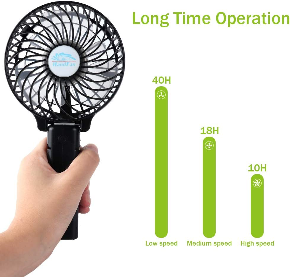 Vech Mini Handheld Fan Strong Airflow Small Personal Portable USB Desk Fan Collapsible Table Fan with Hanging Buckle 3- Speed Cooling Folding Electric Fan for Travel Office Room Household
