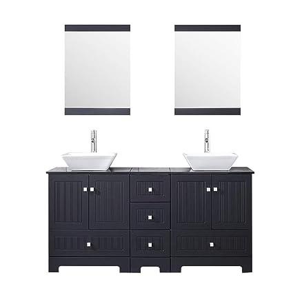 Sliverylake 60 Bathroom Vanity And Sink Combo Bathroom Cabinet Black Countertop Sink Bowl W Mirror Set Ceramic Vessel Black Trapeziform