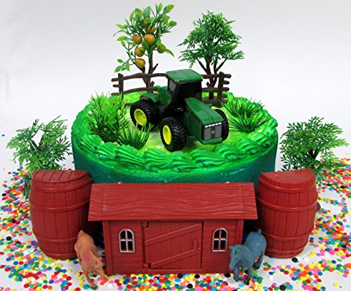 John Deere Farming Tractor Farmer Themed Birthday Cake Topper Set Featuring Figure And Decorative Accessories