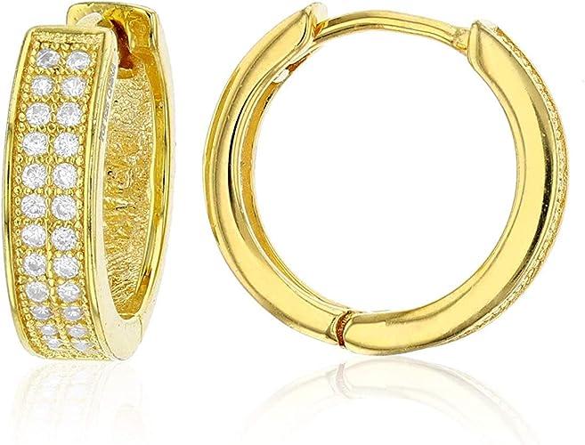 14k Yellow Gold Shiny Round Huggies Hoops Earrings 3X12mm