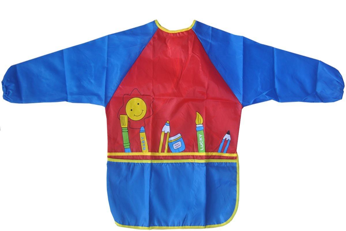 Hoptree Art Essentials Artist Kids' Smock Waterproof Artist Painting Aprons Long Sleeve for Age 2-6,Blue