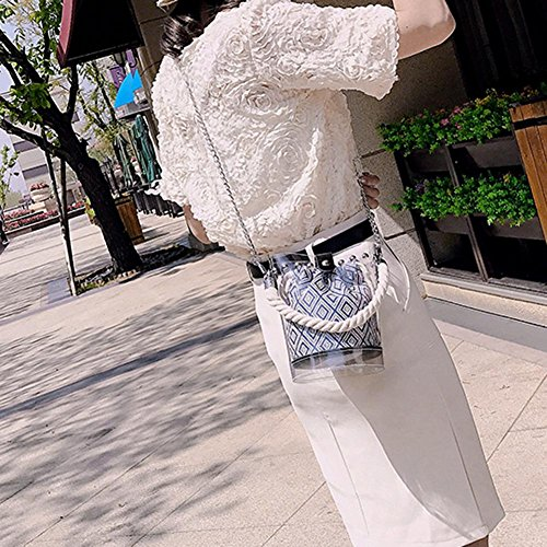 Handbags Women 3 Clear Bags Messenger Aediea Bucket Rivets Shoulder PVC Chain Beach tpxxwZB