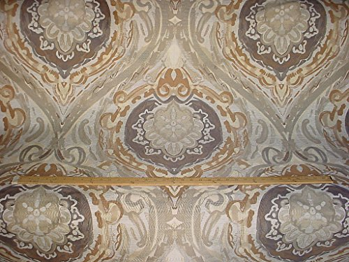 156RT14 - Grey / Gold / Pewter / Silver Andalusian Floral Medallion Jacquard Brocade To the Trade Designer Upholstery Drapery Fabric - By the Yard (Contemporary Fabrics Drapery)