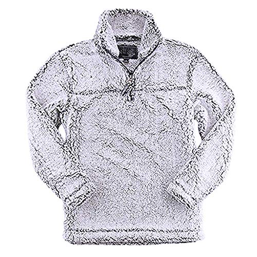 Find Bargain St.Dona Sherpa Quarter Zip Pullover – Unisex Fit and Two-Toned 100% Polyester, Fluffy...