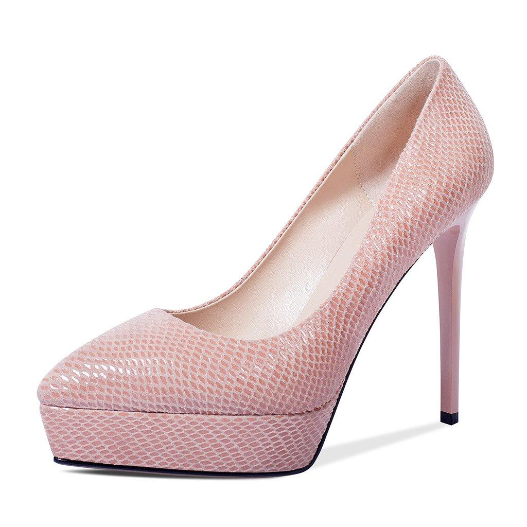 JIANXIN Frauen Frühjahr Und Sommer Flacher Mund Single-Schuh-Leder-Spitze Wasserdichte Plattform Heels Und Dicke Schuhe. (Farbe   Grün größe   EU 37 US 6 UK 4 JP 24cm)