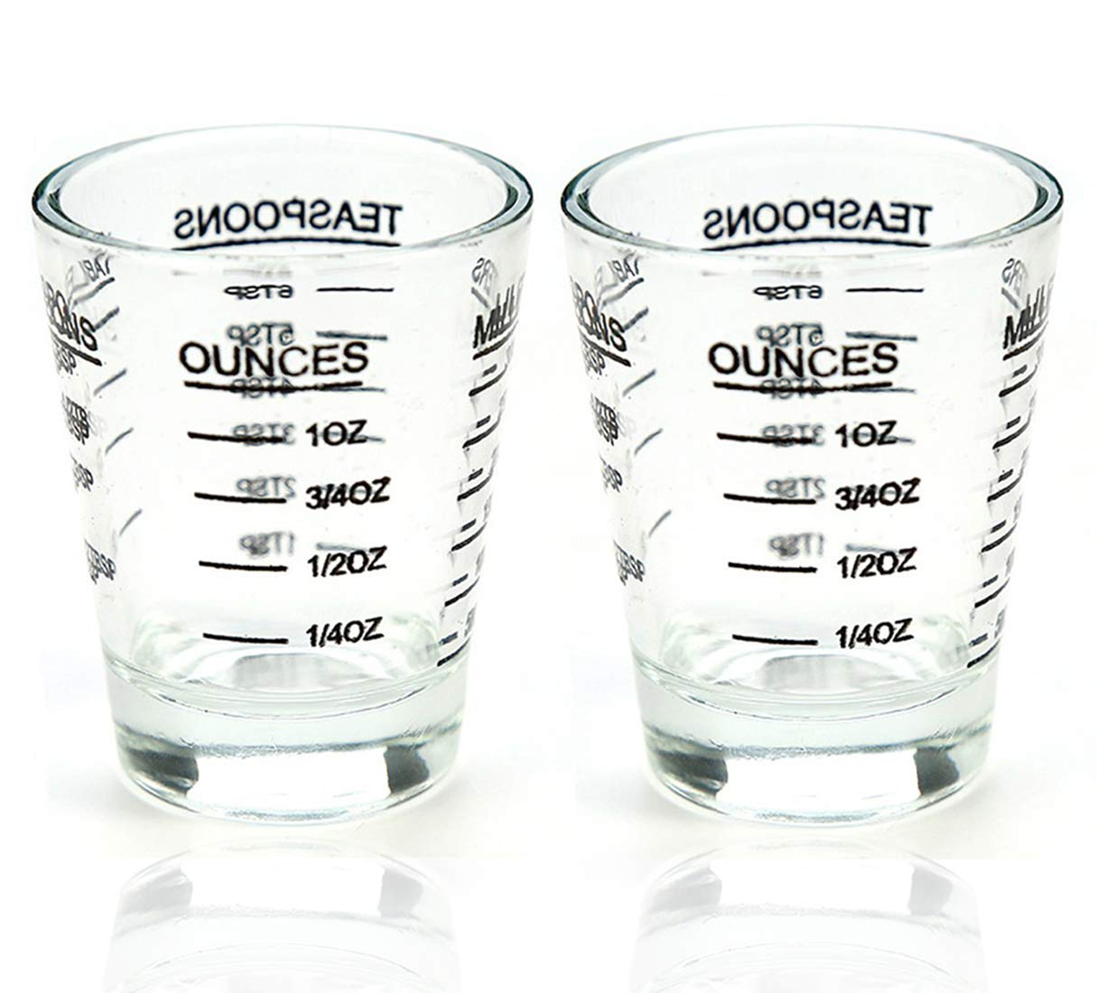 Shot Glasses Measuring cup Liquid Heavy Glass Wine Glass Espresso Shot Glass 26-Incremental Measurement 1 OZ 4 Features 45ML (2 pack-black 30ml)