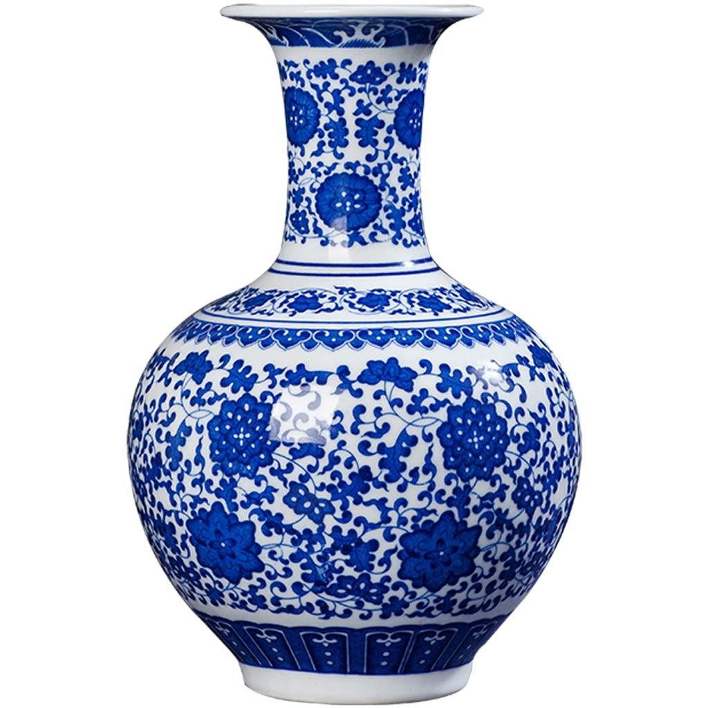 MAHONGQING 花瓶セラミックスアンティーク青と白の磁器の花瓶新しい中国ワインキャビネットの装飾家のリビングルームの工芸品装飾品 (Edition : A) B07S2W84FC  A