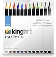 KINGART 444-12, Set of 12 Unique Colors Real Brush Pens, Assorted 12 Piece