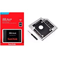 "Kit SSD Sandisk Plus 240GB 2.5"" SATA SDSSDA-240G-G26 + Adaptador Caddy DVD Drive Notebook 9.5mm"
