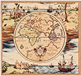 Home Furnishings, Map French Tapestry Throw Pillow Case, Hand Finished Cushion Cover, 19 by 19 Inch