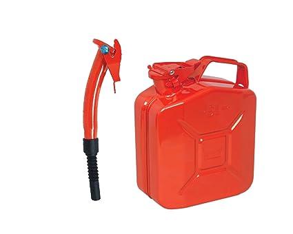 Rojo 5L Metal Bidón + Chorro - para Jardinería Cortacésped ...