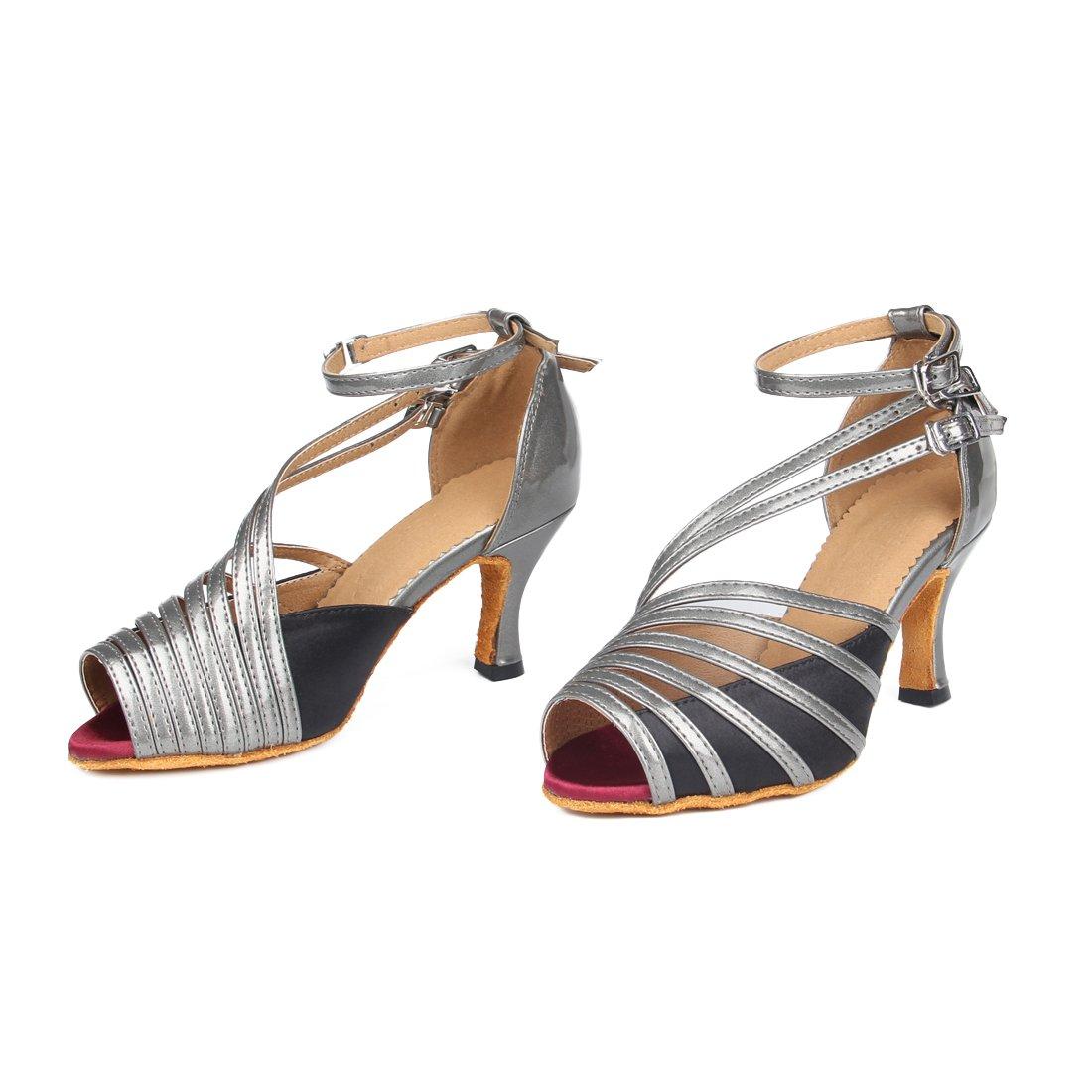 [Lanpet] 2017ダンス靴の女性サテンサルサラテンタンゴ社交ダンスクラス靴ハイヒールs31 B01I2PHCIM 6.5|Grey 2.95
