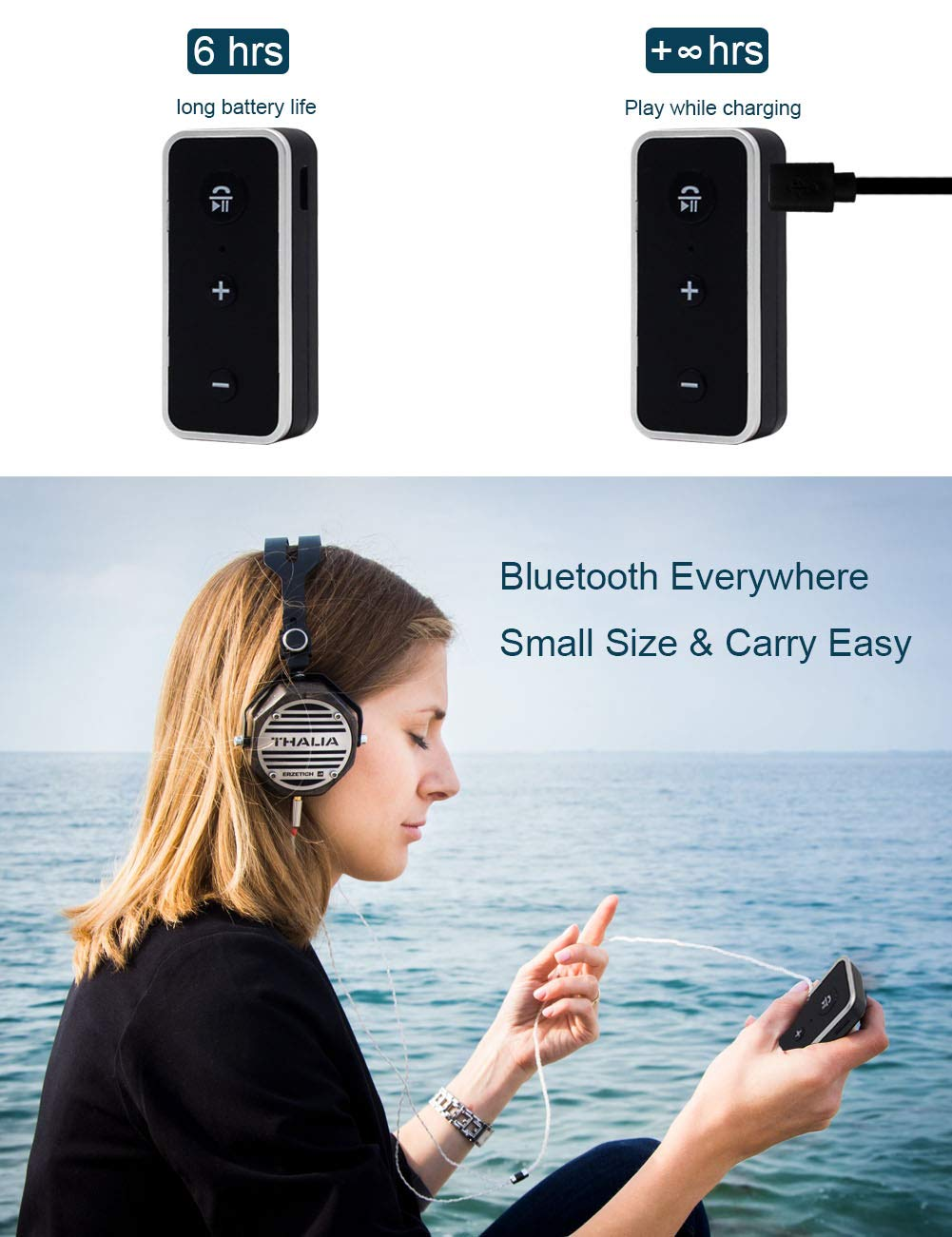 Geva Bluetooth Receiver for Car Speakers 3.5mm Bluetooth 5.0 Aux Adapter Wireless Audio Receiver Bluetooth Audio Adapter Hands-Free Calls Bluetooth Receiver for Home Stereo Headphones