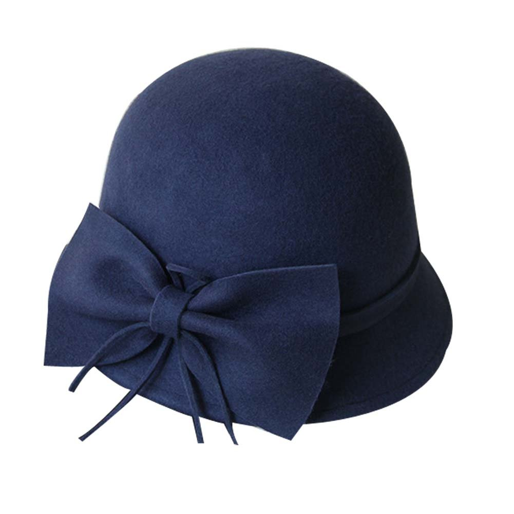 Big Bowknot Woolen Billycock Roll Brim Bowler Hat Hard Felt Hat, Dark Blue PANDA SUPERSTORE PS-SPO2474964011-DORIS00504