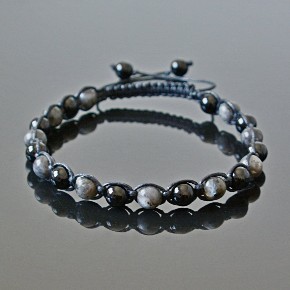 Black Tourmaline and Labradorite Handmade Beaded Crystal Mens Anklet Libra Capricorn October Birthstone Surfer Jewelry