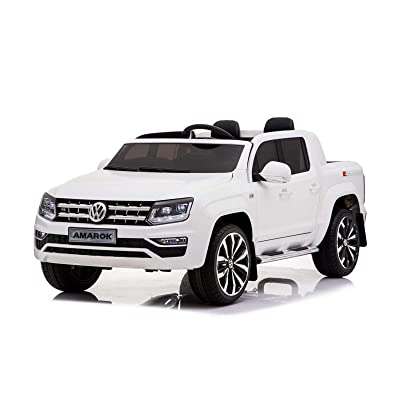 Kool Karz Volkswagen Ride On Car Amarok 2-Seater - Officially Licensed 12v Battery Operated Toy Pickup Truck for Kids (White) with Seatbelt and Parental Remote Control: Toys & Games