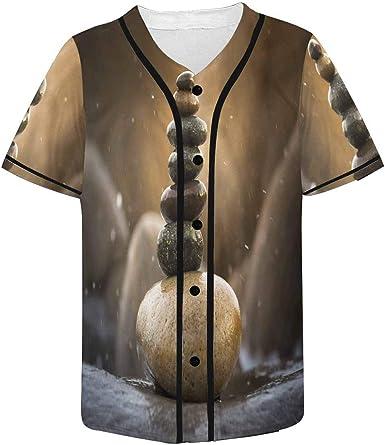 INTERESTPRINT Mens Button Down Baseball Jersey Bowling Ball