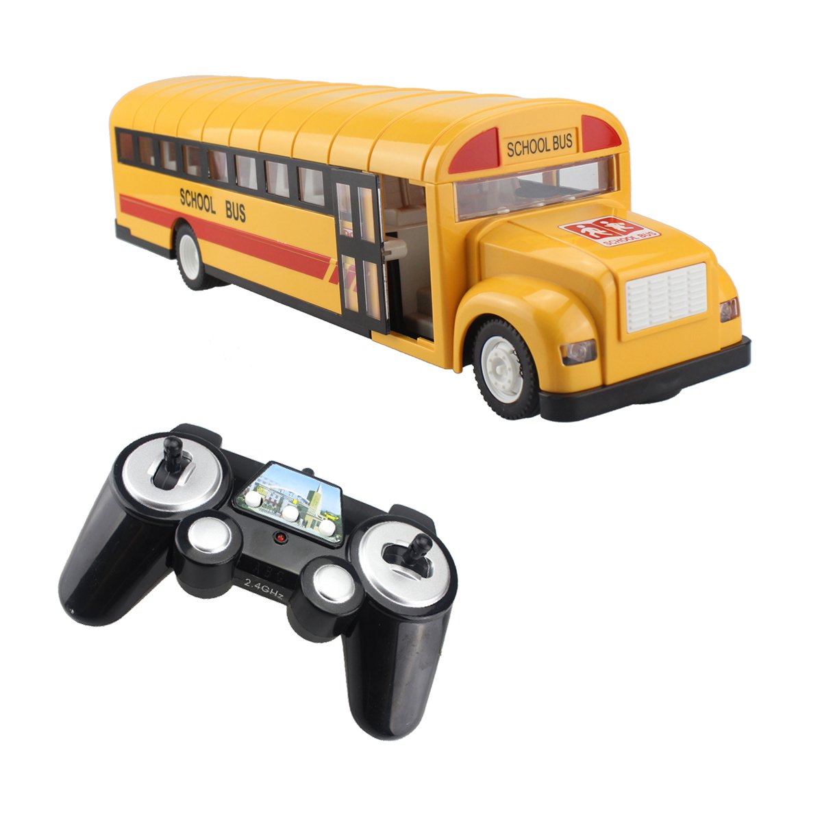 Fisca RC School Bus Remote Control Car Vehicles 6 Ch 2.4G Opening Doors Acceleration & Deceleration Toys with Simulated Sounds and LED Lights Rechargeable Electronic Hobby Truck for Kids