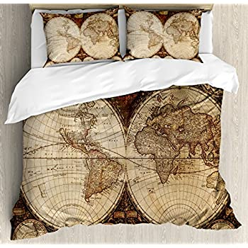 Amazon old world navigation duvet cover bed linen set home ambesonne wanderlust decor duvet cover set queen size old world map made in 1720s nostalgic style art historical atlas vintage decor decorative 3 piece gumiabroncs Gallery