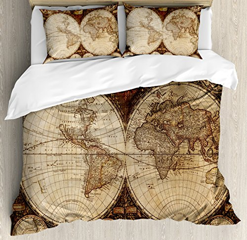 - Ambesonne Wanderlust Decor Duvet Cover Set Queen Size, Old World Map Made in 1720s Nostalgic Style Art Historical Theme Atlas Vintage Decor, A Decorative 3 Piece Bedding Set with 2 Pillow Shams, Multi