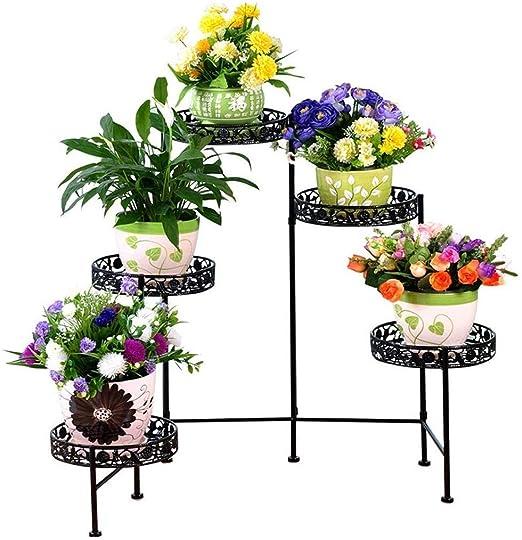 chishizhenxiang Soporte de Flores de Hierro, Balcón Interior de la ...