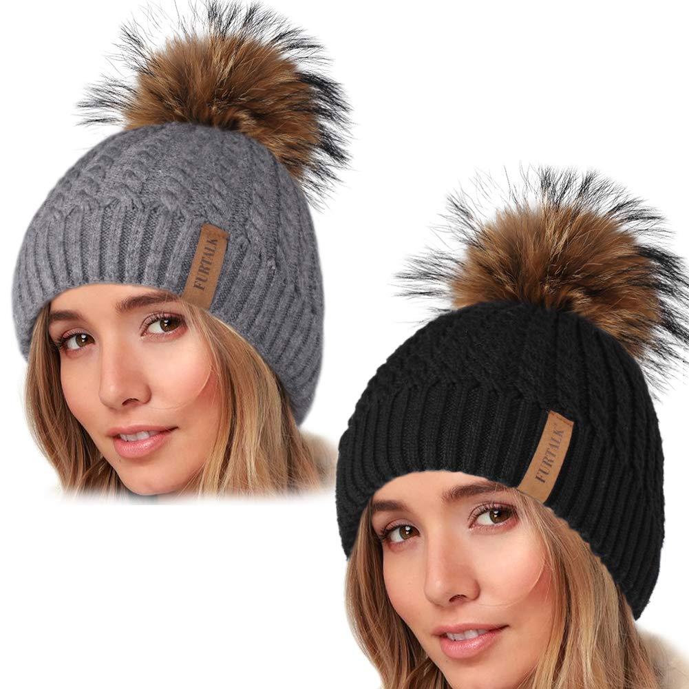 Winter Beanie Hats for Women FURTALK Womens Warm Knit Fur Bobble Pom Pom Hat by FURTALK