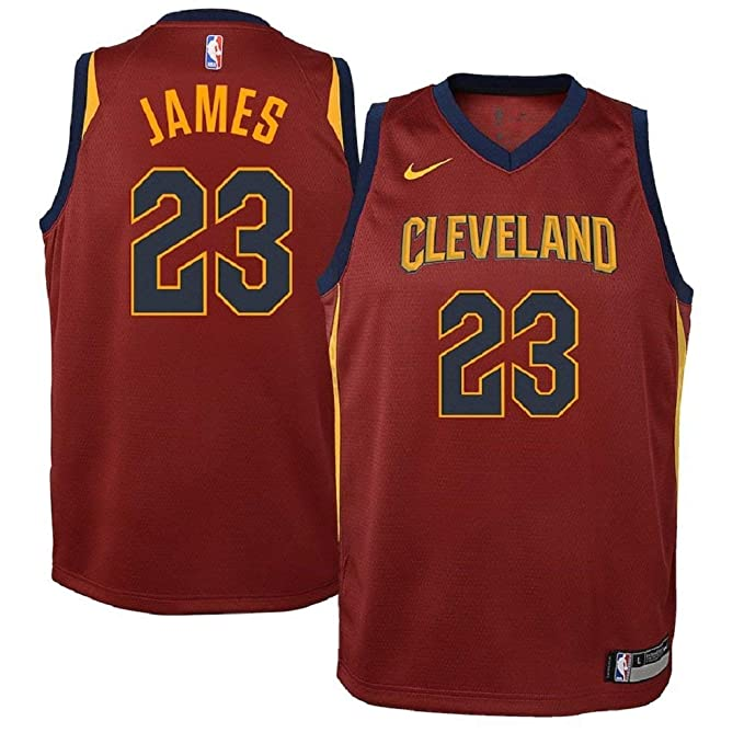 new concept 2a5f1 e370f Nike Lebron James Cleveland Cavaliers NBA Youth Burgundy Road Dri-Fit  Swingman Icon Jersey