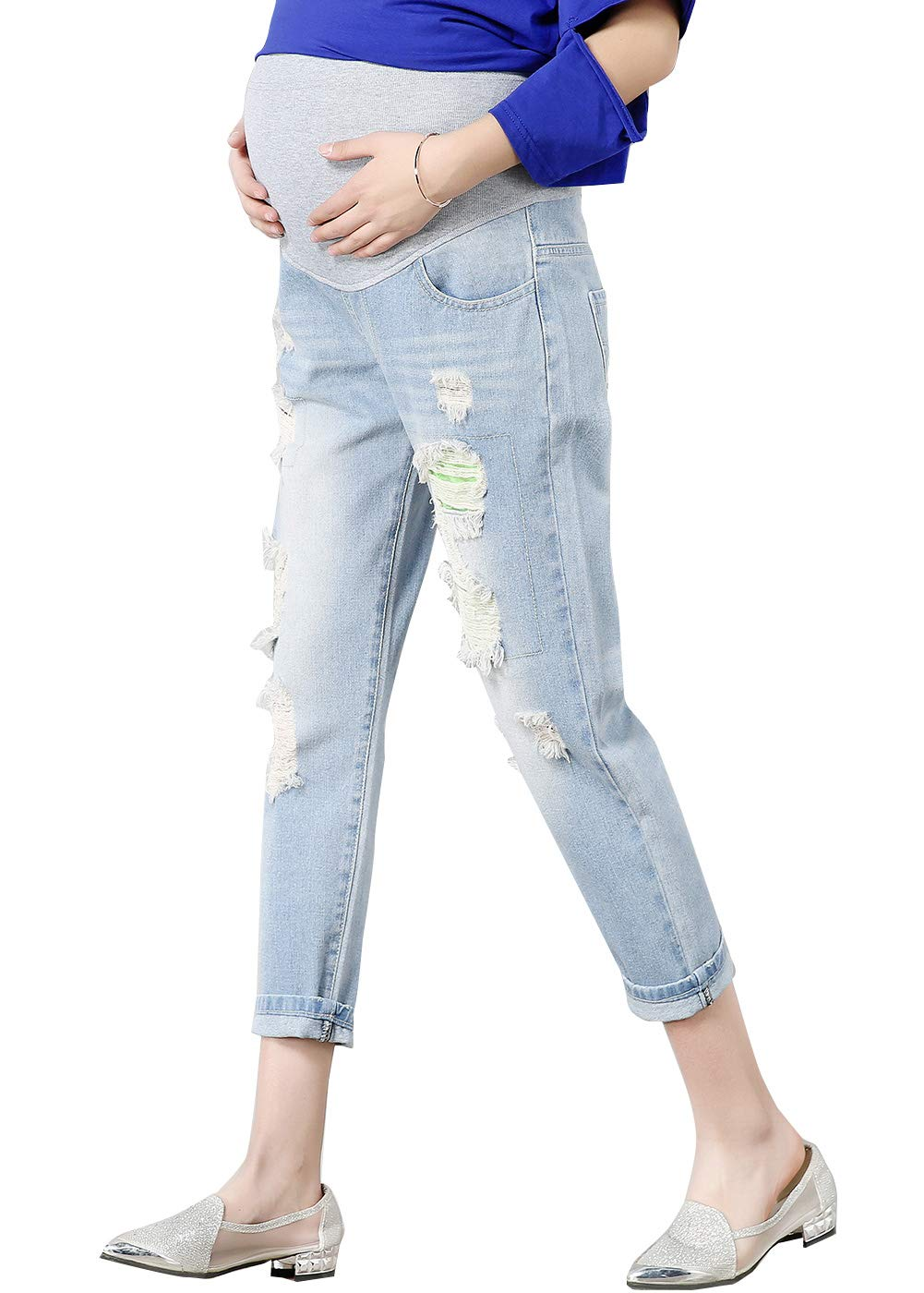 FEOYA Skinny Jeans for Pregnant Women Distressed Stretch Pants Leggings JINPIN