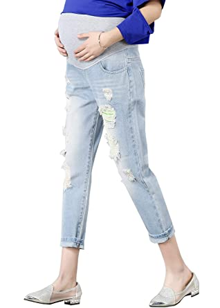 19f3fb2a417823 FEOYA Women's Pregnant Ripped Distressed Jeans Slim Stretchy Skinny Cuffed  Pants, Light Denim Blue,