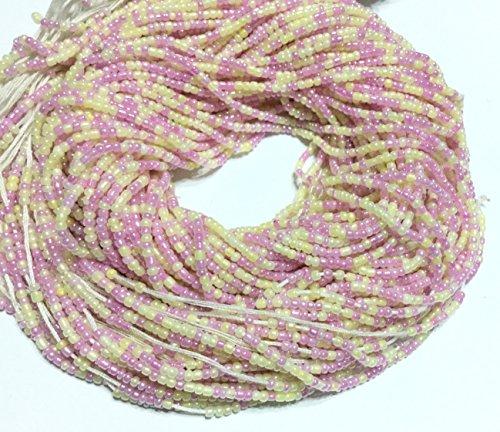 VIntage Ghana Lt Purple Cream waist seed Beads Glass African Trade ()
