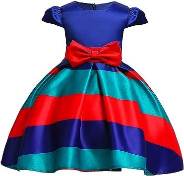 Rayas Horizontales Vestido Fiesta Niña Vestido De Princesa Falda ...