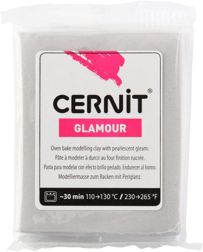 Silber 7 x 5.5 x 1.5 cm Cernit Glamour Lehm 56g