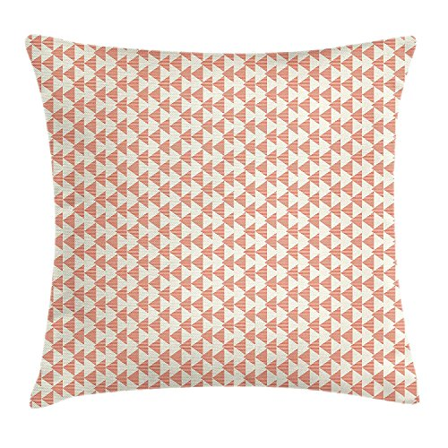 (SPXUBZ Geometric Abstract Triangle Shapes With Striped Patterns Pastel Colors Modern Salmon Peach Pale Pillow Cover Home Decor Nice Gift Square Indoor Pillowcase Size: 20x20 Inch(Two Sides))