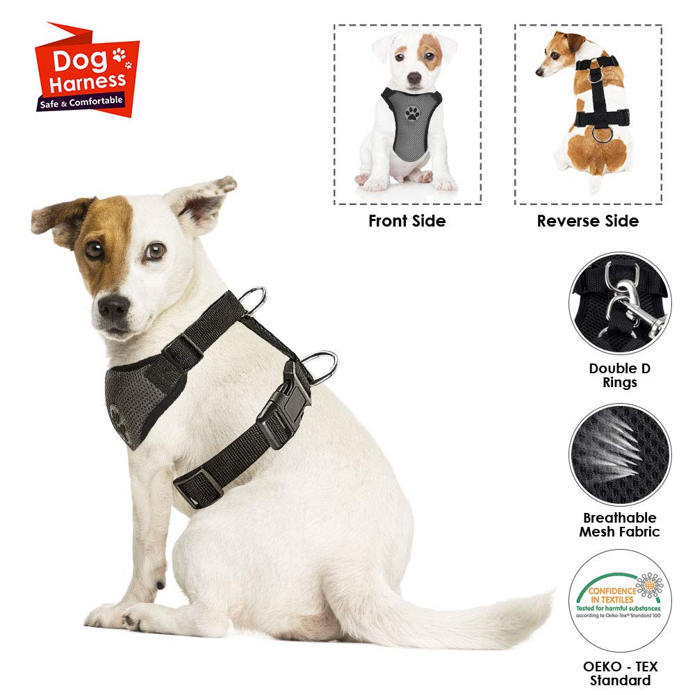 SlowTon Dog Car Vest Harness Multifunction Adjustable Double-Ring Breathable Mesh Fabric Harness for Cat Puppy Road Trip Daily Walks(No Seatbelt, Only Harness) LT-PET8-0A-GYS