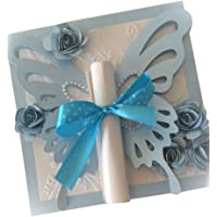 Butterfly Scroll Card with Box Blue - 25 pack