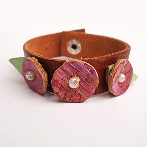 aa42a99f967 Amazon.com: Leather Cuff Bracelet For Women Pink Flowers: Handmade